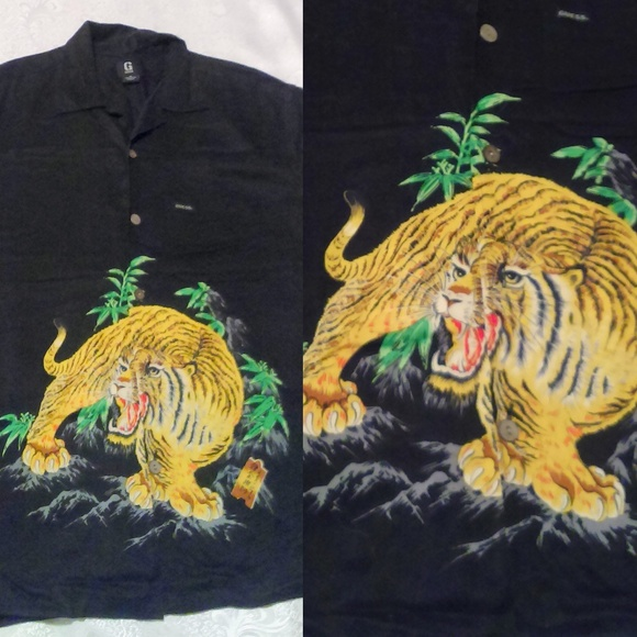 92b3063a2 GUESS Shirts | Black Tiger Print Hawaiian Shirt | Poshmark